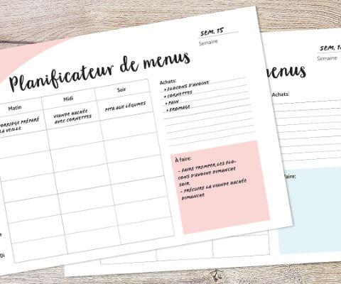 Le Planning De Menus Hebdomadaire Pour Les Familles Offre