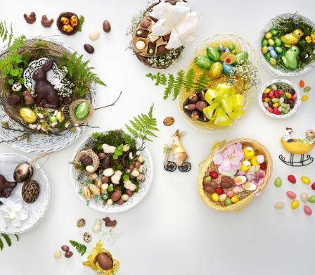 Remplir le nid de Pâques de sucreries