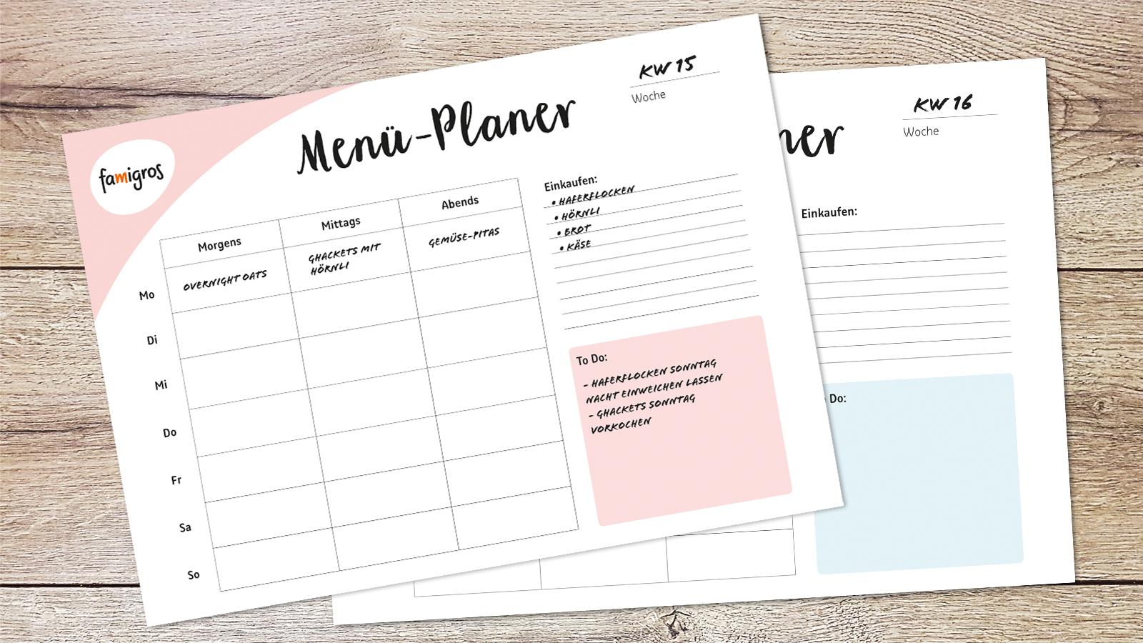 Liste einer wöchentlichen ausgewogenen Ernährung