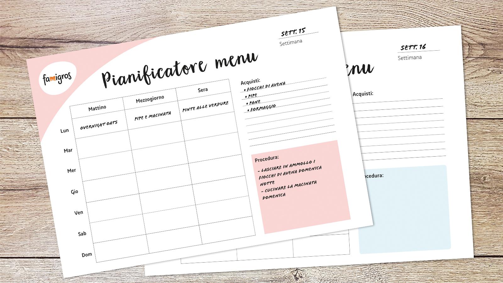 Come Organizzare I Pasti Settimanali il piano alimentare settimanale per famiglie suggerisce