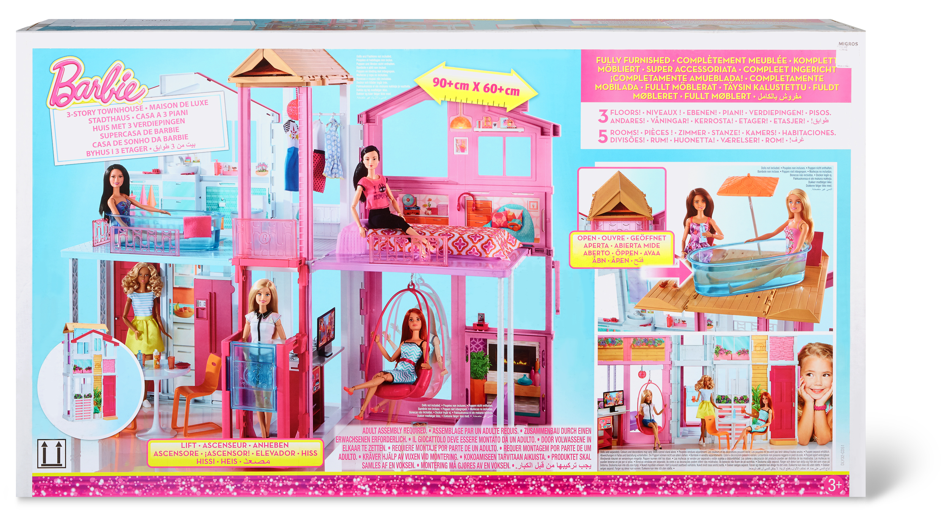 La casa di barbie a tre piani famigros for Accessori per la casa di barbie