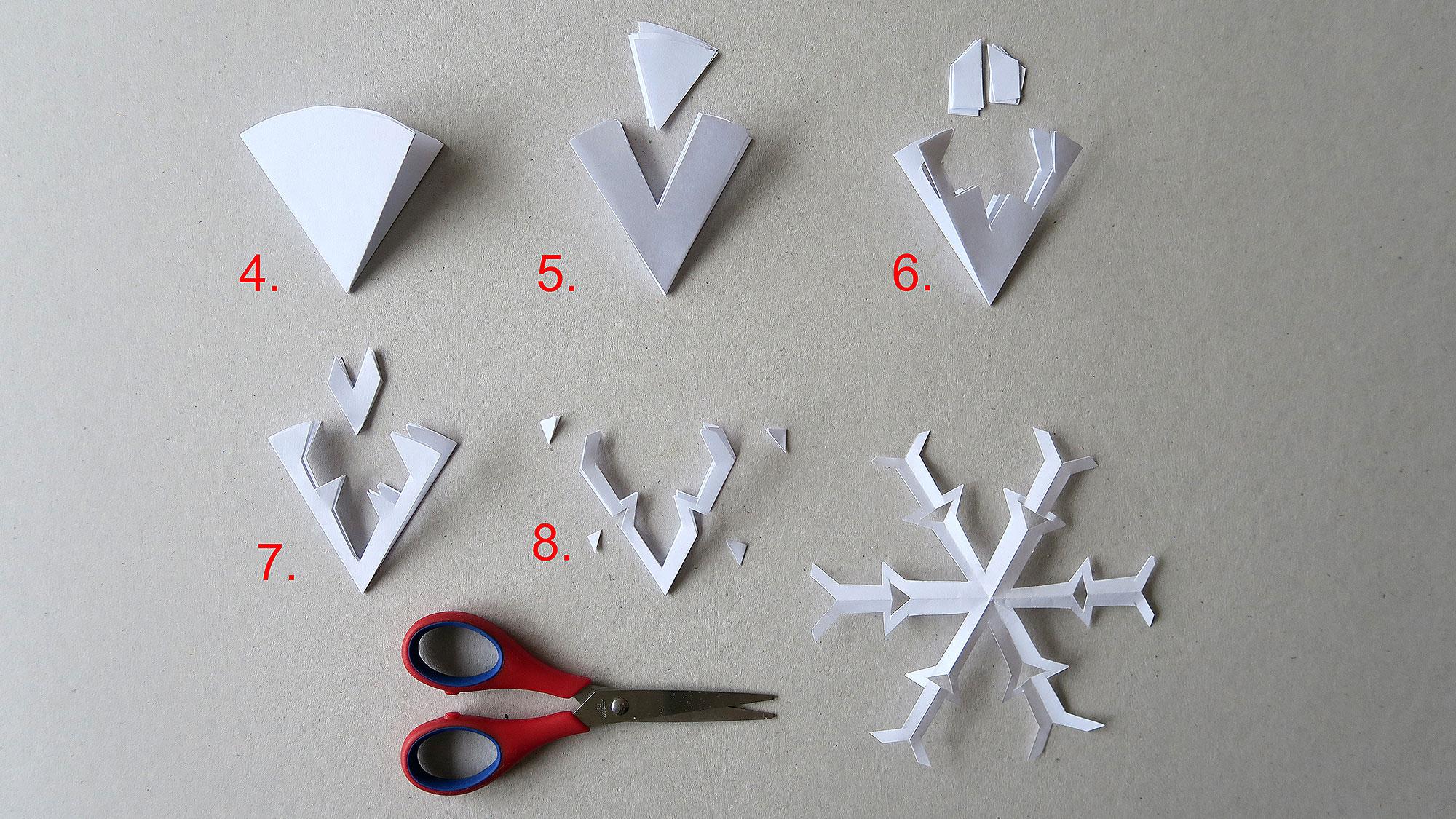 Fiocchi Di Neve Di Carta Facili : Motivi ritagliati in d un semplice fiocco di neve famigros